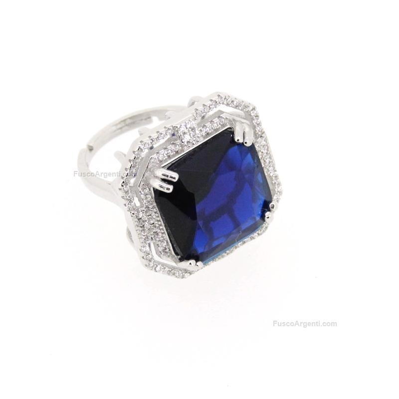 Popolare Anello con pietra quadrata any-g pietra blu anello argento 925  GO03