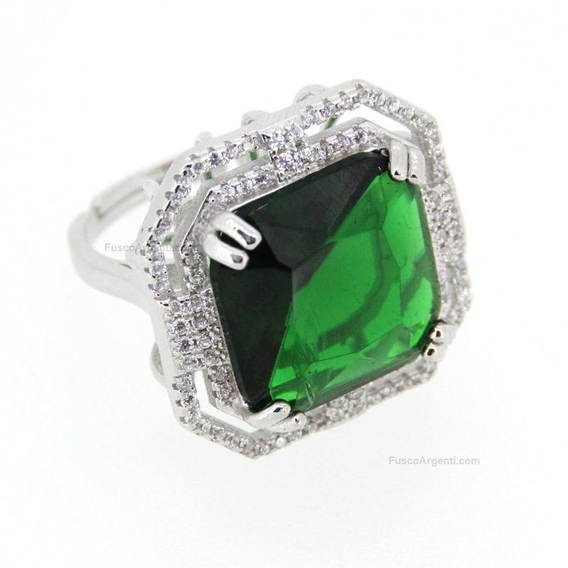 rivenditore di vendita 55d1d f7f3c Anello con pietra quadrata any-g pietra verde anello argento ...