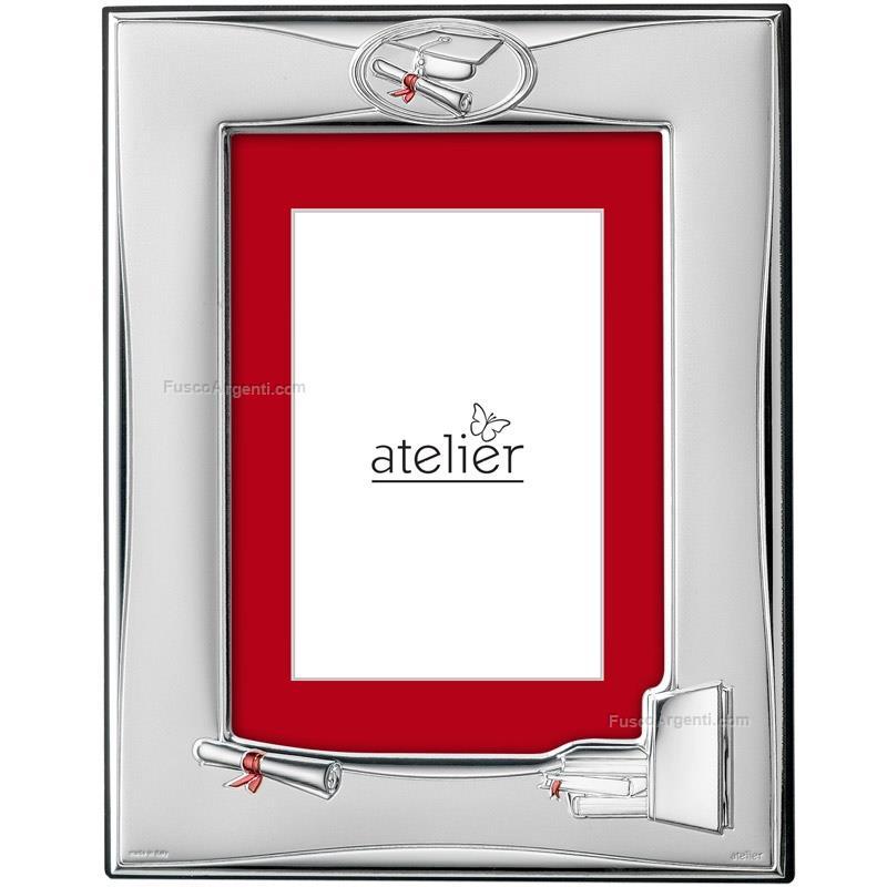 Cornice laurea atelier cm 13x18 cornice argento laminato for Cornici 13x18