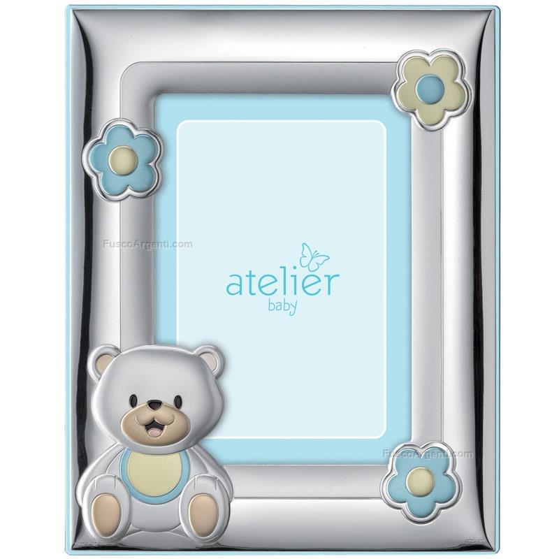 Teddy bear frame atelier cm 9x13 - light blue silver pvd teddy bear ...
