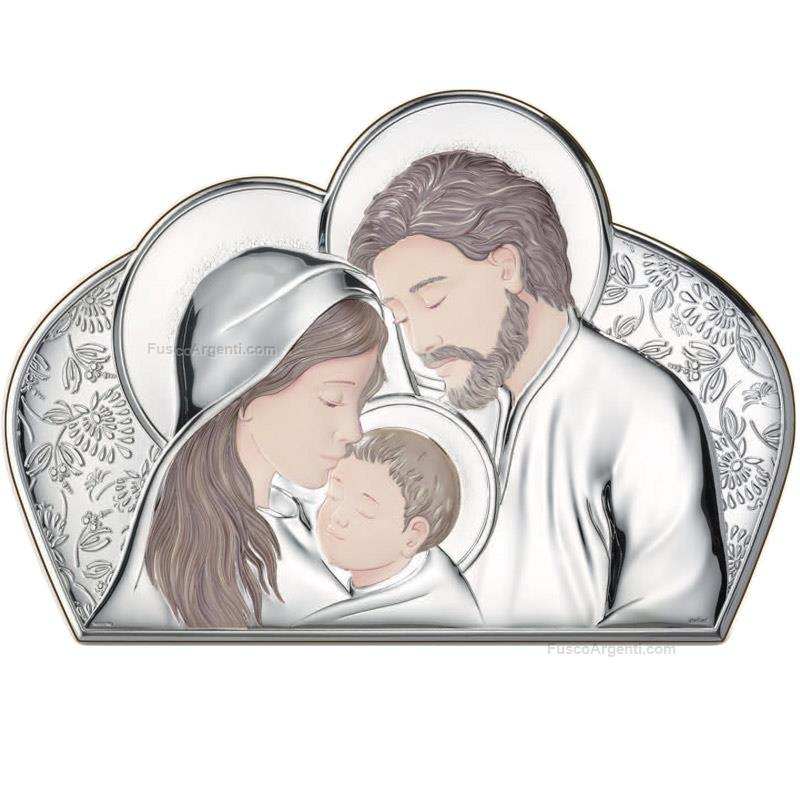 Holy family atelier cm 7x10 silver pvd icon wooden back ae0203/1 ...