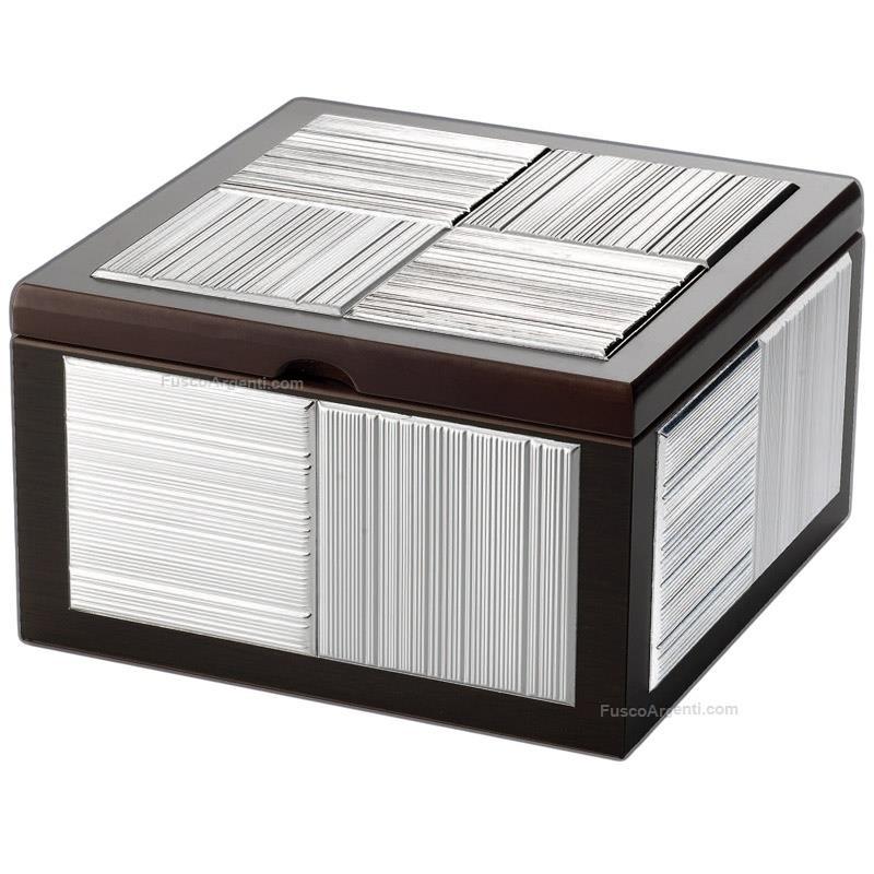 Scatola portagioie atelier cm 18x18 h 12 legno pvd argento - Portagioie argento ...