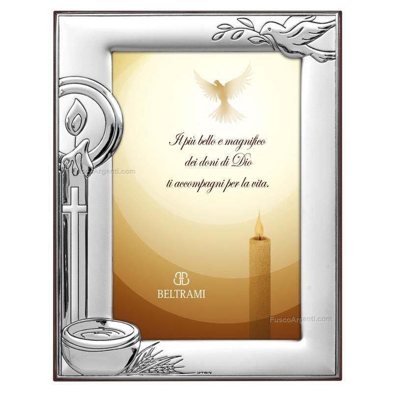 Picture frame baptism beltrami cm 9x13 - brown silver plate baptism ...