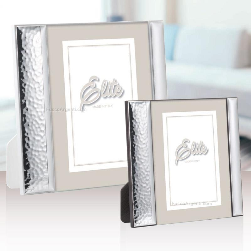 Open photoframe first class cm 15x20 - white back hammered silver ...