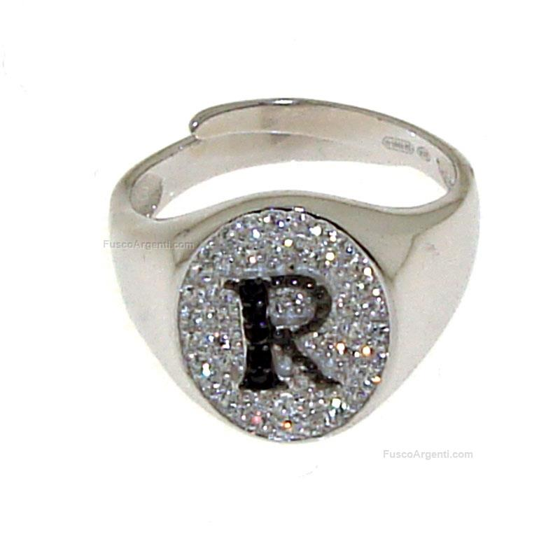 letter ring silver jewelry sterling silver ring with white