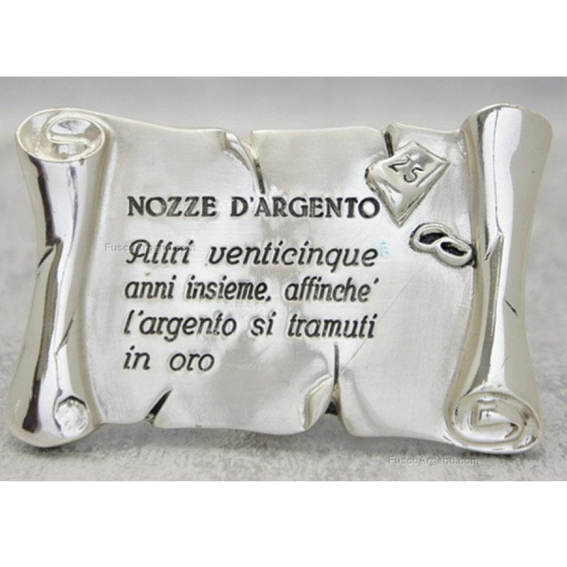 Pergamena italian gift cm 11x7 nozze d 39 argento resina for Frasi auguri nozze argento