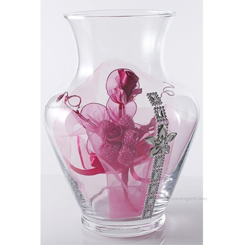 Glass vase lupa h cm 27 andy with strass and silver plate for Jardin glass vases 7 in