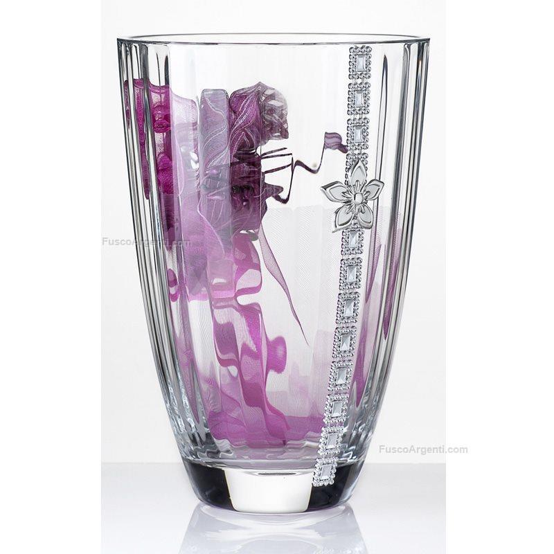 Vaso in vetro lupa h cm 27 vaso largo vetro strass fiore for Vasi ermetici vetro