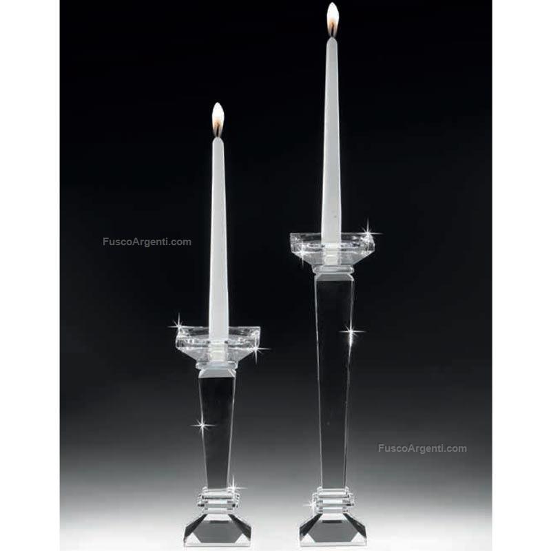 Candeliere In Cristallo Ranoldi Cm 9x9 H 32 Candeliere Squadrato Cristallo Racx5044 Cristalleria Candelieri Offerta Fusco Argenti Gioielli