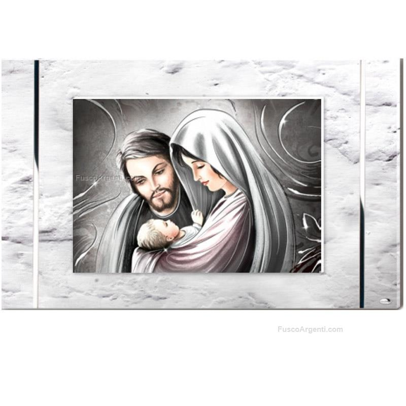 Panel holy family valenti & co. cm 80x50 - silver on white ...